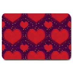 Galaxy Hearts Grunge Style Pattern Large Door Mat
