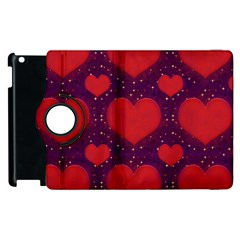 Galaxy Hearts Grunge Style Pattern Apple iPad 3/4 Flip 360 Case