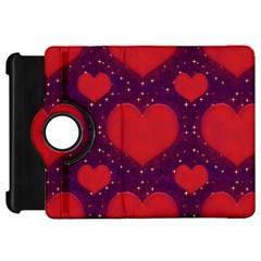 Galaxy Hearts Grunge Style Pattern Kindle Fire HD Flip 360 Case