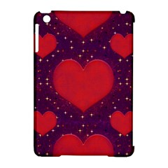 Galaxy Hearts Grunge Style Pattern Apple iPad Mini Hardshell Case (Compatible with Smart Cover)