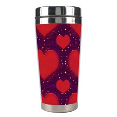 Galaxy Hearts Grunge Style Pattern Stainless Steel Travel Tumbler