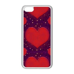 Galaxy Hearts Grunge Style Pattern Apple iPhone 5C Seamless Case (White)