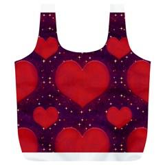 Galaxy Hearts Grunge Style Pattern Reusable Bag (XL)