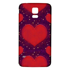 Galaxy Hearts Grunge Style Pattern Samsung Galaxy S5 Back Case (White)
