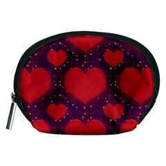 Galaxy Hearts Grunge Style Pattern Accessory Pouch (Medium)