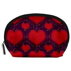 Galaxy Hearts Grunge Style Pattern Accessory Pouch (Large)