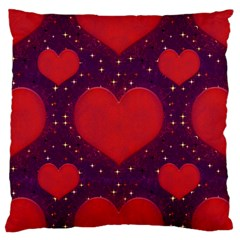 Galaxy Hearts Grunge Style Pattern Large Flano Cushion Case (Two Sides)