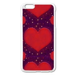 Galaxy Hearts Grunge Style Pattern Apple iPhone 6 Plus Enamel White Case