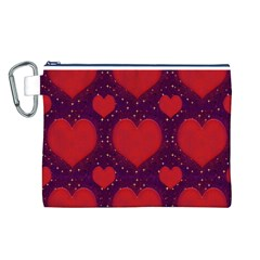 Galaxy Hearts Grunge Style Pattern Canvas Cosmetic Bag (Large)