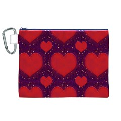 Galaxy Hearts Grunge Style Pattern Canvas Cosmetic Bag (XL)