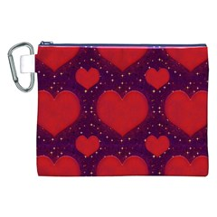 Galaxy Hearts Grunge Style Pattern Canvas Cosmetic Bag (XXL)