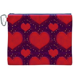 Galaxy Hearts Grunge Style Pattern Canvas Cosmetic Bag (XXXL)