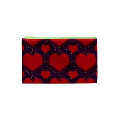Galaxy Hearts Grunge Style Pattern Cosmetic Bag (xs)