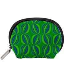 Curvy Hot Neon Green Blue Tropical Accessory Pouch (Small)