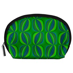Curvy Hot Neon Green Blue Tropical Accessory Pouch (Large)