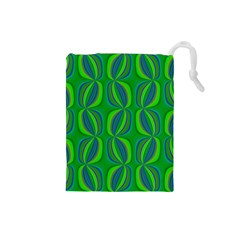 Curvy Hot Neon Green Blue Tropical Drawstring Pouch (Small)