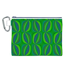 Curvy Hot Neon Green Blue Tropical Canvas Cosmetic Bag (Large)