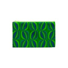 Curvy Hot Neon Green Blue Tropical Cosmetic Bag (XS)