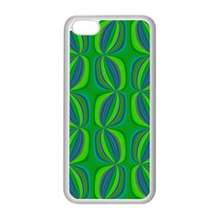 Curvy Hot Neon Green Blue Tropical Apple iPhone 5C Seamless Case (White)