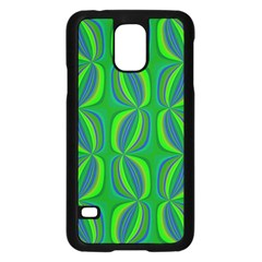 Curvy Hot Neon Green Blue Tropical Samsung Galaxy S5 Case (Black)