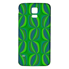 Curvy Hot Neon Green Blue Tropical Samsung Galaxy S5 Back Case (White)
