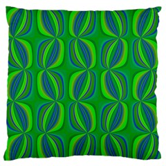 Curvy Hot Neon Green Blue Tropical Large Flano Cushion Case (Two Sides)