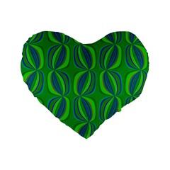 Curvy Hot Neon Green Blue Tropical 16  Premium Flano Heart Shape Cushion