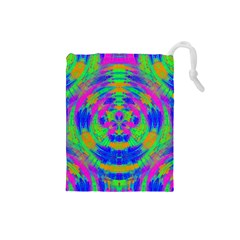 Neon Abstract Circles Drawstring Pouch (Small)