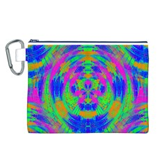 Neon Abstract Circles Canvas Cosmetic Bag (Large)