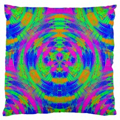 Neon Abstract Circles Large Flano Cushion Case (Two Sides)
