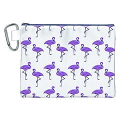 Flamingo Neon Purple Tropical Birds Canvas Cosmetic Bag (XXL)