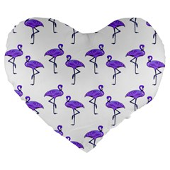 Flamingo Neon Purple Tropical Birds 19  Premium Flano Heart Shape Cushion