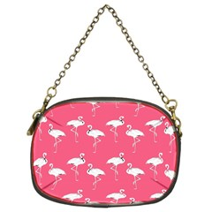 Flamingo White On Pink Pattern Chain Purse (two Sided)