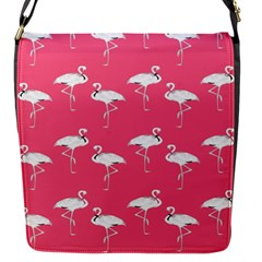 Flamingo White On Pink Pattern Flap Closure Messenger Bag (small)