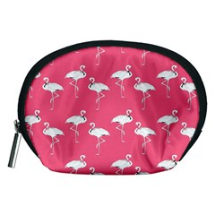 Flamingo White On Pink Pattern Accessory Pouch (Medium)