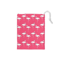 Flamingo White On Pink Pattern Drawstring Pouch (Small)