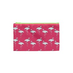 Flamingo White On Pink Pattern Cosmetic Bag (XS)