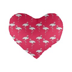 Flamingo White On Pink Pattern 16  Premium Flano Heart Shape Cushion