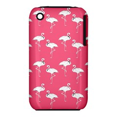 Flamingo White On Pink Pattern Apple iPhone 3G/3GS Hardshell Case (PC+Silicone)