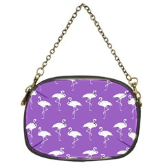 Flamingo White On Lavender Pattern Chain Purse (two Sided)
