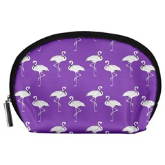 Flamingo White On Lavender Pattern Accessory Pouch (large)