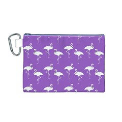Flamingo White On Lavender Pattern Canvas Cosmetic Bag (Medium)
