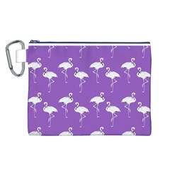 Flamingo White On Lavender Pattern Canvas Cosmetic Bag (Large)