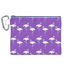 Flamingo White On Lavender Pattern Canvas Cosmetic Bag (XL)