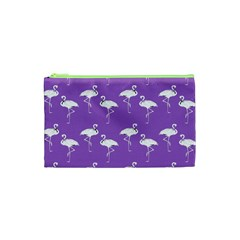 Flamingo White On Lavender Pattern Cosmetic Bag (xs)