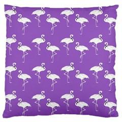 Flamingo White On Lavender Pattern Large Flano Cushion Case (one Side)