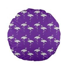 Flamingo White On Lavender Pattern 15  Premium Flano Round Cushion