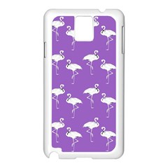 Flamingo White On Lavender Pattern Samsung Galaxy Note 3 N9005 Case (White)