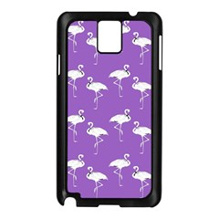 Flamingo White On Lavender Pattern Samsung Galaxy Note 3 N9005 Case (black)
