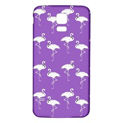 Flamingo White On Lavender Pattern Samsung Galaxy S5 Back Case (White)